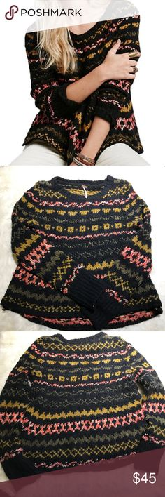 """Free People Through The Storm Fair Isle Sweater This pullover Sweater has a drapey/oversized silhouette with a beautiful fair isle design. Super soft & cozy, perfect for the cooler weather.    * Boat neck, long sleeves, ribbed trim, patterned body  * High/low hem, side slits, chunky knit, relaxed fit  * Hand wash * Imported * Retail: $128  Measurements are taken laying flat and are approximate -   Armpit to Armpit: 16"""" Length: 21"""" Sleeve: 25""""  No Modeling / No Trades  Offers welcome!  B22…"""