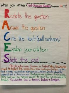 "Another new anchor chart for the room! ""When answering text dependent questions remember RACES!"" I went through the acronym with the students, modeled an answer on the SMART board, and then we practiced it together. I paired this with the text we had read previously. And it worked great! by judy"
