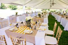 White tablecloth and burlap layered with another colour