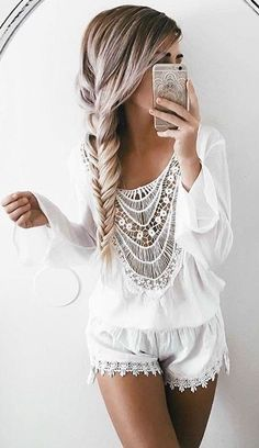 #summer #girly #outfitideas | White Romper