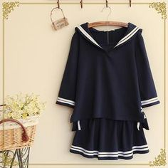 Buy 'Fairyland – Set: Contrast Trim Sailor Collar Blouse   A-Line Skirt' with Free International Shipping at YesStyle.com. Browse and shop for thousands of Asian fashion items from China and more!