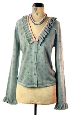 """""""My Little Pigeon"""" pastel blue & pink cardigan sweater from Victorian Trading Co."""