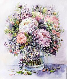 Картины цветов ручной работы. Ярмарка Мастеров - ручная работа. Купить Букет с пионами и травами в сиреневых тонах. Handmade. цветы