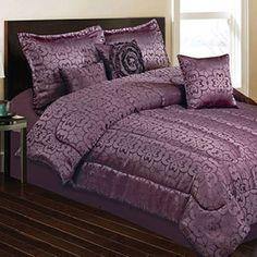 Maison Condelle  Seven-Piece Patty Jacquard Comforter Set In Plum