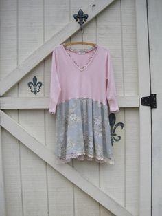 floral dress L mini dress long tunic bohemian by ShabyVintage