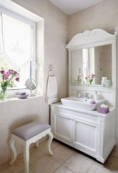shabby chic white bathroom with lavender touches