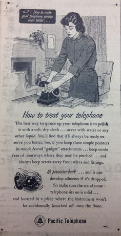 Phone cleaning tips from Ma Bell, 1952. Old-fashioned clean