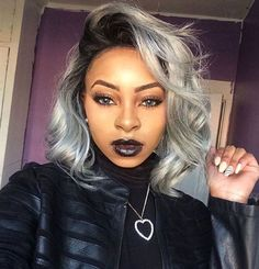 This Grey Bob can be achieved with 613 blonde Bundles with Dark Roots. Add a frontal for this off the face style.