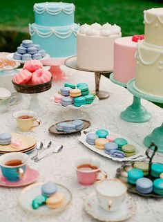 Tea party in pastel candy colors (especially like the pink mini bundts)