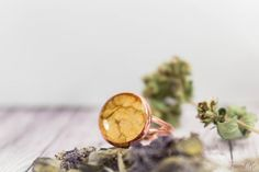 Gold copper ring with real dried leaf. Free size. от FriendMeBijou