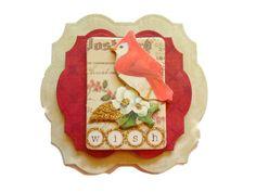 Christmas Cardinal 3D Scrapbook Embellishment Paper by itsmemanon