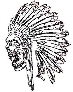 potisk indián, originální motiv na tričko,T-ART.CZ, aztec skull design t-shirt
