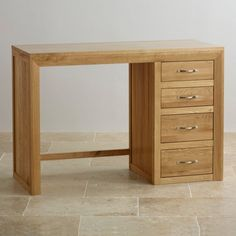 Bevel Natural Solid Oak Dressing Table by Oak Furniture Land Oak Furniture Land, Solid Wood Furniture, Dining Room Furniture, Office Furniture, Large Dresser, Oak Dresser, Oak Shelves, Solid Oak, Storage Spaces