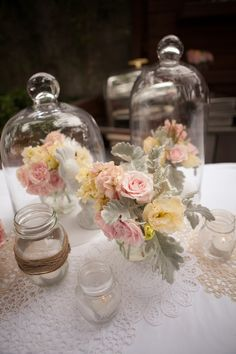 What's more vintage than bell jars? We love how floral looks more precious once under glass.