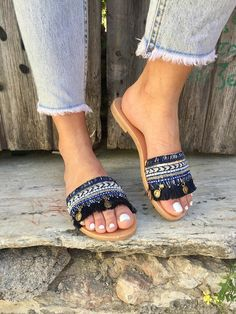 Leather Slide Sandals, Leather Sandals, Slip On Sandals, Flat Sandals, Greek Sandals, Made in Greece by Christina Christi Jewels.