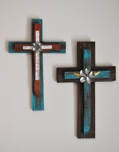 Rustic reclaimed wood cross with metal embellishments, and turquoise teal stained wood. $45.00, via Etsy.