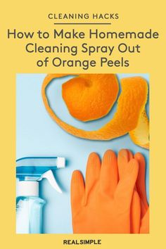 How to Make Homemade Cleaning Spray Out of Orange Peels   The new book Simplicity at Home shows us how to clean with citrus peels with a recipe for a homemade cleaning solution, plus a sink-scrubbing trick using apples. #organizationtips #realsimple #howtoclean #cleaningtips #cleaninghacks Cleaning Spray, Cleaning Hacks, Laundry Hacks, Tidy Up, Orange Peel, How To Make Homemade, Real Simple, Cleaning Solutions, Laundry Tips