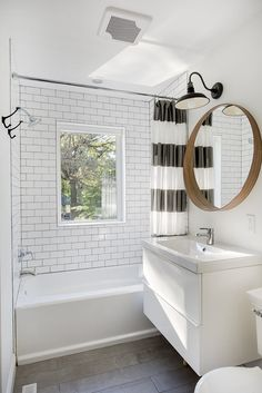 Budget Bathroom :: Home Depot Tile + Tub, Ikea Mirror + Vanity + Sink, Pottery Barn Light
