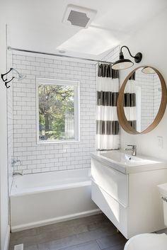 Budget Bathroom :: Home Depot Tile + Tub, Ikea Mirror + Vanity + Sink, Pottery Barn Light
