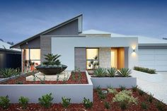 Stunning street appeal sets this home apart from most new home designs. An imposing skillion roof is an immediate eye catching feature of this very contemp Facade House, House Roof, My House, Roof Design, Exterior Design, House Design, House Blueprints, Display Homes, Modern House Plans