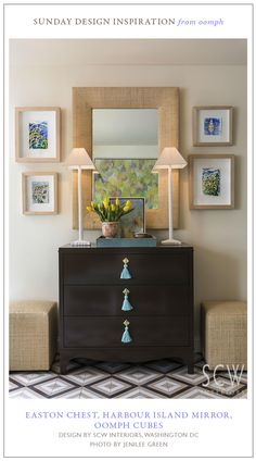 Easton Chest, Harbour Island Mirror and raffia cubes - all from oomph.