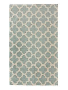 Fez Hand-Hooked Rug by nuLOOM on Gilt Home, 520.00  Sadly, I can't spend that much on a rug…but how great would it be to use the color and pattern on a wall? The champagne metallic is fantastic with the green/blue base color.