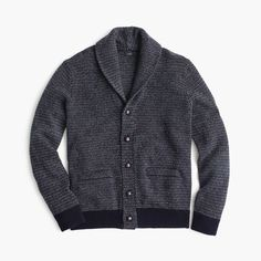 J.Crew Gift Guide: men's textured shawl-collar cardigan sweater.