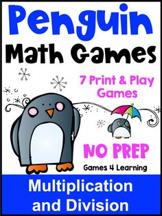 These No Prep Penguin Math Games for kids are for Multiplication and Division. There are 7 No Prep math games included with a penguin theme. These are perfect for a Winter math activity and are ideal for December, January or February. Also great for a welcome back from Winter break activity. These are NO PREP games - just print and hand out. Use these as a fun after Winter break activity or math center. Great for developing fact fluency in 2nd, 3rd and 4th grade.