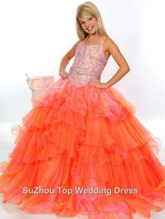 2015 Halter Flower Girl Dress Organza Crystal Sequins Ball Gown Floor-Length Ruffles Little Girl Princess Pageant Gowns #Y012424