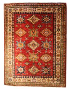 """Size: 4'11""""x6'6"""" Type: Kazak Material: 100% Wool Weave: Hand-knotted Condition: New Field Color: Red Border Color: Buttercup, Green - Free Shipping! In stock, ships within 3-5 business days. 7 busines"""