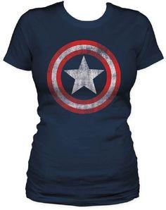 Captain America - Shield Damen Kurzarm T-Shirt in Navy, Medium, Navy  Unbekannt