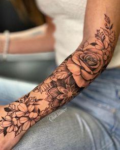 Girly Sleeve Tattoo, Half Sleeve Tattoos Forearm, Mandala Tattoo Sleeve, Spine Tattoos, Best Sleeve Tattoos, Dope Tattoos, Trendy Tattoos, Body Art Tattoos, Hand Tattoos
