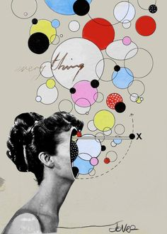 """everything is a universe,"" surreal portrait collage by Loui Jover 