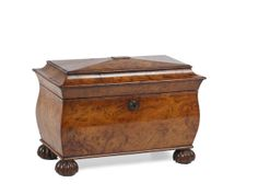 A George IV pollard oak tea caddy