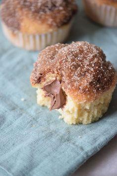 Nutella Stuffed Sugar Muffins Recipe ~ DivineLifestyle.com ~ bread desserts cake frosting breakfast chocolate hazelnuts hazelnut spread
