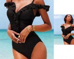 2019 Design Swimwear Women Bathing One piece Swimsuit Monokini Maio Biquini Traje de baño Mujer Trikini Badpak Bikini Maillot Bandeau Bikini, Ruffle Swimsuit, Monokini Swimsuits, Black Swimsuit, Bikini Swimwear, Swimsuits 2017, Strap Bikini, Trendy Swimwear, Women's Swimwear