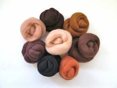 Earth and Skin Tones Merino Wool Roving Palette by FeltEvolution