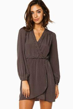 ShopSosie Style : Cecelia Wrap Dress in Dark Green and Mauve Polka Dots  LOVE