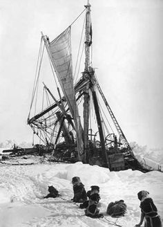 Shackleton's 'Endurance' final sinking November 1915.  'Endurance' was the three-masted barquentine in which Sir Ernest Shackleton sailed for the Antarctic on the 1914 Imperial Trans-Antarctic Expedition. She was launched in 1912 from Sandefjord in Norway and was crushed by ice, causing it to sink, three years later in the Weddell Sea off Antarctica.