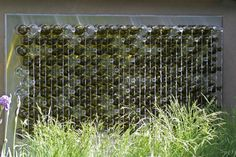 Water Features meet the ethos of recycling! 204 wine bottles appear to have water coming out of all of them.... Chelsea Flower Show