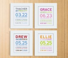 Typography Birth Prints by Mosie Posies