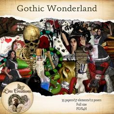 Treasured Scraps Gothic Wonderland [Lins Creations] - A creepy Wonderland where nothing is as it seems 35 elements and 12 posers Alice In Wonderland, Creepy, Gothic, Store, Paper, Scrapbooking, Products, Art, Art Background