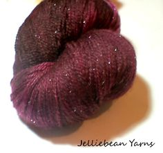 Dragon's blood Stardust Celestial Lace weight yarn. £15.00, via Etsy.