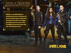 Killjoys, Candian tv series, 2015. Team leader Dutch (Yaleena Yardeen played by Hannah John-Kamen), John Jaqobis played by Aaron Ashmore and D'Arvin Jaqobis played by Luke Macfarlane.