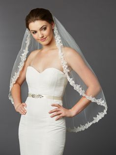 Crystal Accented Sculpted Lace Edge Mantilla Bridal Veil