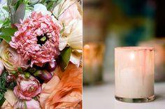 Ranunculus Pink Peach Wedding Flowers Painted Votive
