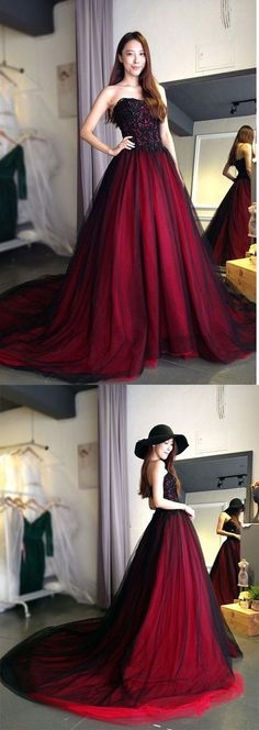 Burgundy Lace Tulle A Line Strapless Long Prom