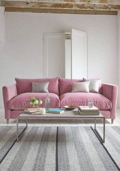 Loaf's comfy Flopster sofa in a deep pink Dusty Rose velvet in this white-washed living room with exposed beams and contemporary coffee table Pink Velvet Sofa, Pink Couch, Living Room Sofa, Living Room Decor, Living Room Ornaments, Loaf Sofa, Living Room Inspiration, Living Room Designs, Home Decor