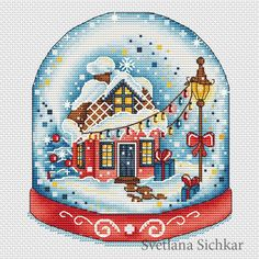 "Cross stitch design ""Red Snow Globe"" #sa_stitch #sa_pattern #pattern #crossstitch #snow #winter"