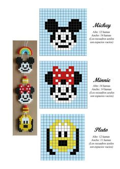 Mickey, Minnie and Pluto hama perler beads pattern - perles à repasser… Pearler Bead Patterns, Bead Loom Patterns, Perler Patterns, Pearler Beads, Beading Patterns, Jewelry Patterns, Bracelet Patterns, Art Patterns, Beading Ideas